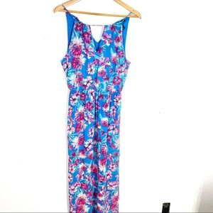 Blue and Pink Floral Maxi Dress Small